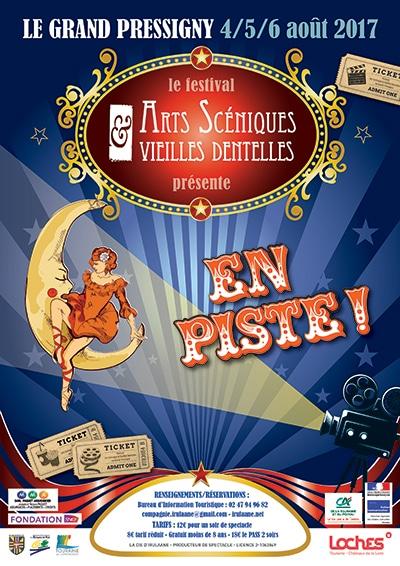 """Affiche du festival Arts Scéniques et Vieilles Dentelles ayant pour thème """"En piste"""""""
