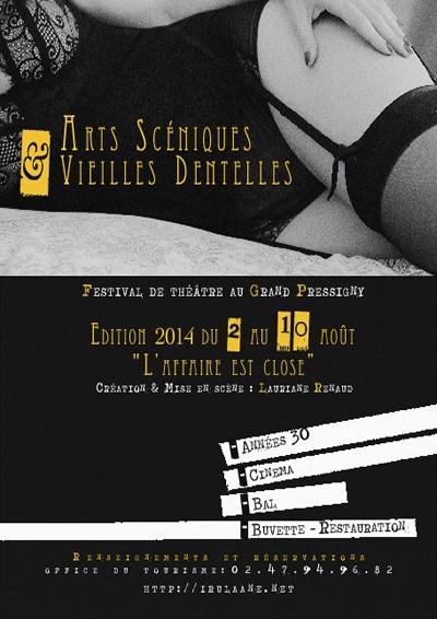"""Affiche du festival Arts Scéniques et Vieilles Dentelles ayant pour thème """"L'affaire est close"""""""