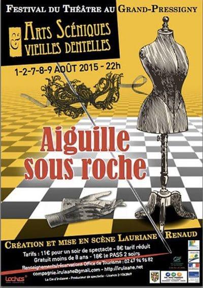 """Affiche du festival Arts Scéniques et Vieilles Dentelles ayant pour thème """"Aiguille sous roche"""""""